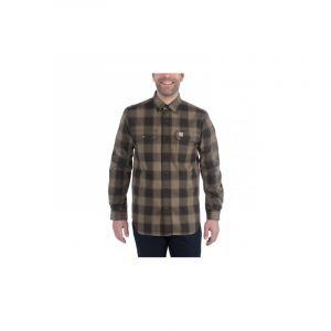 Carhartt Hubbard Slim Fit Flannel Shirt Men, burnt olive S Chemises manches longues