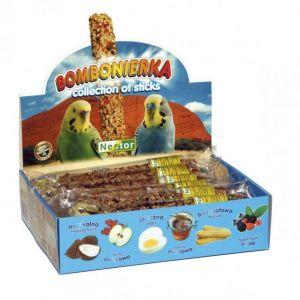 Bombonierka pour perruc s collection de 12 bâtonnets de biscuits, oeufs, miel, fruits, fruits des bois, tropical