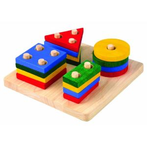 Plan Toys Jouet empilable: Formes géométriques 16 pièces