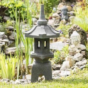 Wanda-collection Lanterne japonaise pagode zen en pierre de lave 80 cm