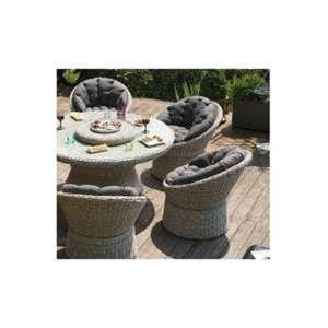 Kettler Table de jardin Barcelona en résine tressée grise - 144 cm en diamètre