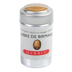Herbin 20141T - Condt de 6 cartouches d'encre standard, couleur ambre de Birmanie