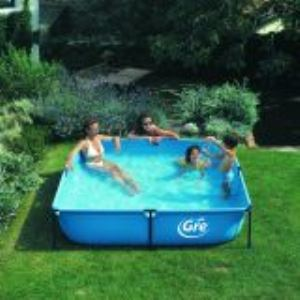 Gre Piscine tubulaire Jet Pool Junior carré 125 x 125 x 35 cm