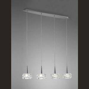 Mantra Suspension 4 lampes design O2 Chrome + Verre 3920