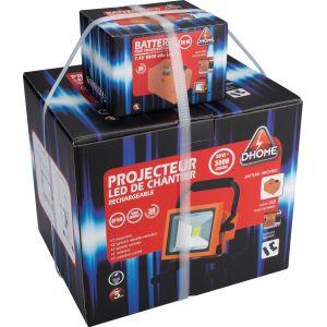 Dhome Projecteur LED de chantier rechargeable batterie amovible - 3000 lm - 2 batteries