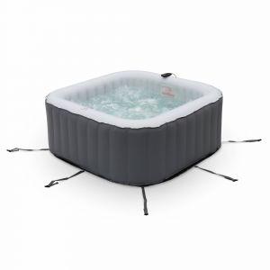 Alice's Garden Spa MSPA gonflable carré – Fjord 4 gris - Jacuzzi 4 personnes carré 160cm, PVC, pompe, chauffage, gonfleur, filtre