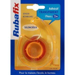 Rubafix 392100 - Ruban adhésif transparent, 19mm x 7,5m, avec dévidoir