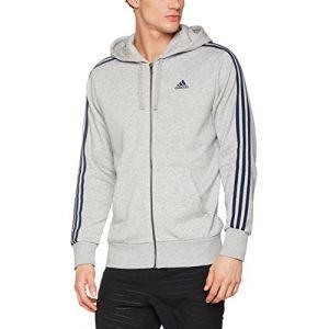 Adidas Ess 3S Fz Ft Sweat-Shirt pour Homme, Gris (Brgrin/Maruni), L