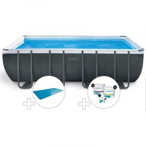 Intex Kit piscine tubulaire Ultra XTR Frame rectangulaire 5,49 x 2,74 x 1,32 m + Bâche à bulles + Kit de traitement au chlore