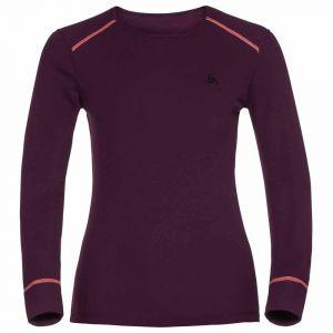 Odlo T-Shirt Femme Manches Longues Warm col ras de cou - Pickled Beet Violet - Femme