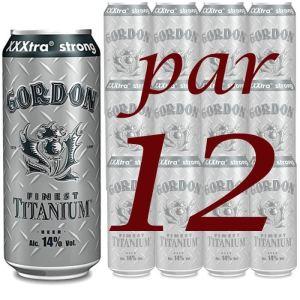 Gordon Finest Titanium - Bière blonde extra forte (12 x 50 cl) 14°