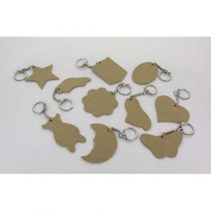 La Fourmi Assortiment 10 porte-clés en bois : coeur, étoile, lune, rond … - Lot de 3