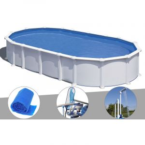 Gre Kit piscine acier blanc Atlantis ovale 8,15 x 4,90 x 1,32 m + Bâche à bulles + Kit d'entretien + Doucheé