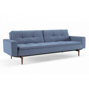 Image de INNOVATION Canapé design DUBLEXO STYLETTO avec accoudoirs bleu Soft Indigo convertible lit 210*115 cm pieds noyer