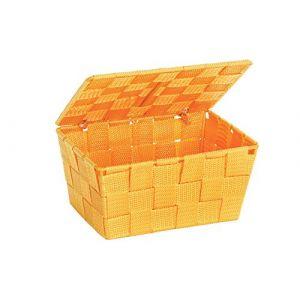 Wenko 22203100 Panier de Rangement avec Couvercle Adria Orange, Polypropylène, 19 x 10 x 14 cm