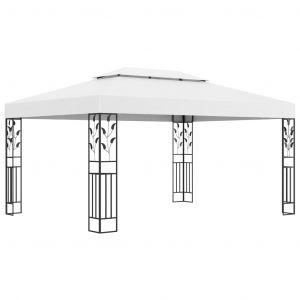 VidaXL Tonnelle avec double toit 3x4 m Blanc