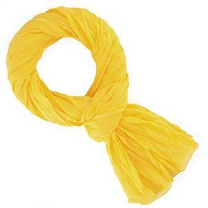 Allée du foulard Echarpe Chèche coton jaune bouton d'or uni jaune - Taille Unique