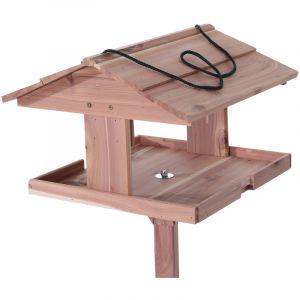 Pawhut Mangeoire oiseaux sur pied grande taille avec toit et corde de suspension bois massif de pin 50 x 50 x 119 cm