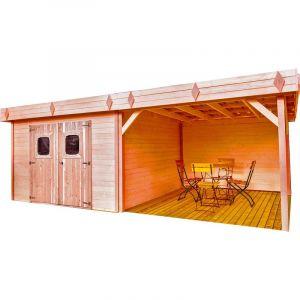 Habrita Abri madriers en douglas massif toit plat - 8,47 m2