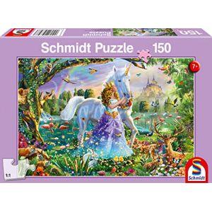 Schmidt Puzzle 150 pièces : Princesse avec licorne et château