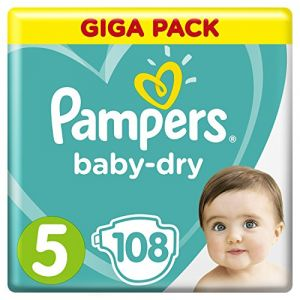 Pampers Couches Baby Dry 108 pièces T5 11-16 kg