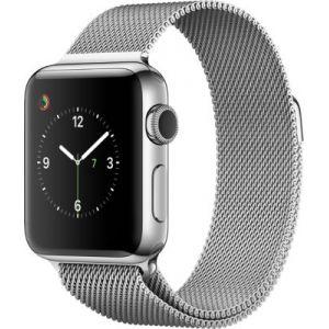 Apple Watch 38 mm séries 2 - Montre connectée Boîtier Acier avec Bracelet Milanais