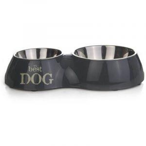 Beeztees Best Dog Gamelle Mélaminé pour Chien Gris 31 x 17,5 cm-160 ml/350 ml