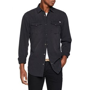 Jack & Jones Jjesheridan Shirt L/s, Chemise en Jean Homme, Noir (Black Denim Fit:Slim), Small