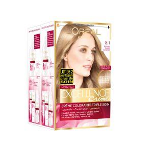 L'Oréal Excellence Crème - Coloration 8.1 Blond Clair Cendré - Les 2 Boites