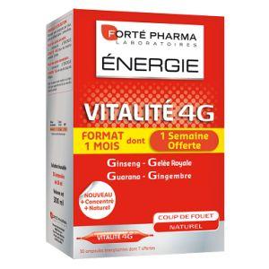 Forté pharma Vitalité 4G, 30 ampoules buvables de 10ml