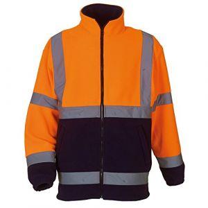 Yoko Mens Salut Vis Heavyweight Fleece Jacket Orange / bleu marine 3XL