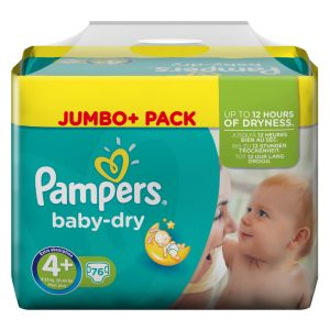 Pampers Baby Dry taille 4+ Maxi Plus 9-20 kg - Jumbo Plus Pack x 76 couches