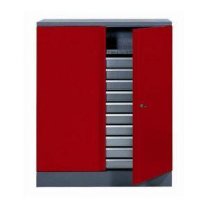 Kupper Armoire de rangement en métal rouge 91 cm 1 porte 10 tiroirs