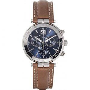 Michel Herbelin Montre Homme - 36654/AP15GO - Newport - Chronographe - Date - Cadran Bleu - Bracelet Cuir Marron