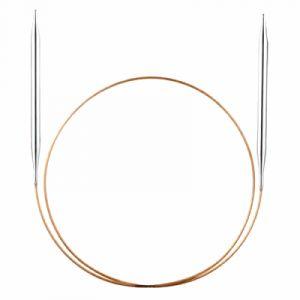 Addi Aiguille à tricoter ronde en métal - 80cm - pointe laiton, DM 10mm