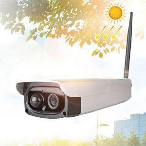 Caméra IP de sécurité solaire HD 1080P d'extérieur, détection de mouvement de support & réveil par IRP, étanche IP66 blanc