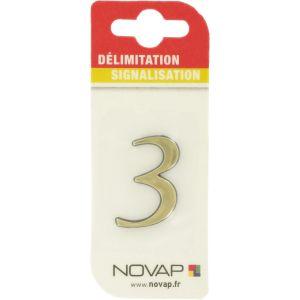 Novap Chiffre autocollant en relief couleur or (3) - Numéro : 3 -