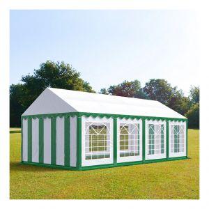 Intent24 Tente de réception 4 x 8 m PVC vert-blanc