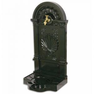 L'héritier du temps Fontaine À Poser Source En Fonte Daluminium Patinée Vert Avec Robinet Fonctionnel En Laiton 33x40x83cm