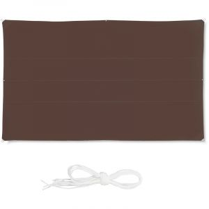 Relaxdays Voile d'ombrage Rectangle diffuseur d'Ombre Protection Soleil Balcon Jardin UV 4 x 6 m imperméable, Marron