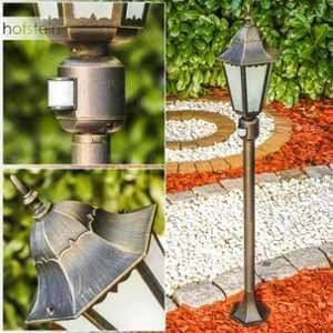 Hofstein Lampadaire extérieur HONGKONG FROST en fonte d'aluminium de couleur bronze/doré et verres opales - Petit réverbère de jardin avec détecteur de mouvement - Luminaire pour chemin classique IP44