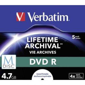 Verbatim 43821 - M-Disc BD-R Blu-Ray 4.7 Go 4x (Boîtier lot de 5)