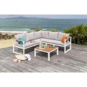 PALMA Salon de jardin 5 places en métal et en bois d\'eucalyptus - canapé  d\'angle modulable avec une table basse - Gris et Blanc - PALMA Salon de ...