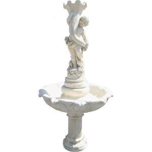 Deco granit Fontaine avec enfant en pierre reconstituée (076)