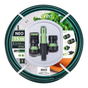 Cap Vert Batterie tuyau d'arrosage Néo - Diamètre 15 mm - Longueur 15 m