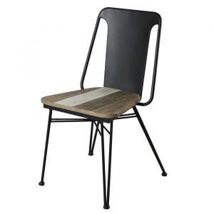 Lot de 2 chaises de salle à manger Bois acacia m if et métal Noir et marron mat Style scandinave L 51 x P 49 cm
