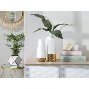 Beliani Vase en céramique blanche NOVES