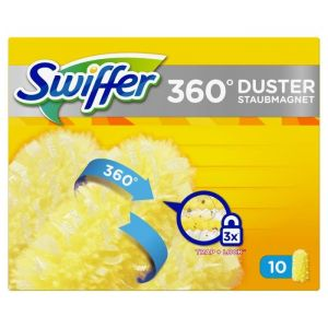 Swiffer Kit plumeau dépoussiérant 360° Duster XXL - 1 manche ergonomique - 10 plumeaux jetables