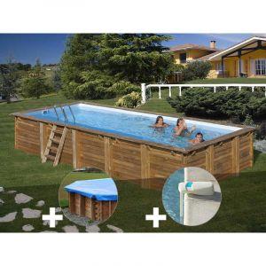 Sunbay Kit piscine bois Braga 8,00 x 4,00 x 1,46 m + Bâche hiver + Alarme