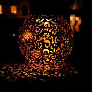 Globo Lampe solaire à LED, osier décoratif boule, hauteur 54 cm